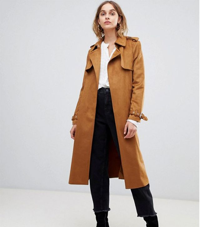Warehouse suedette trench coat in tan