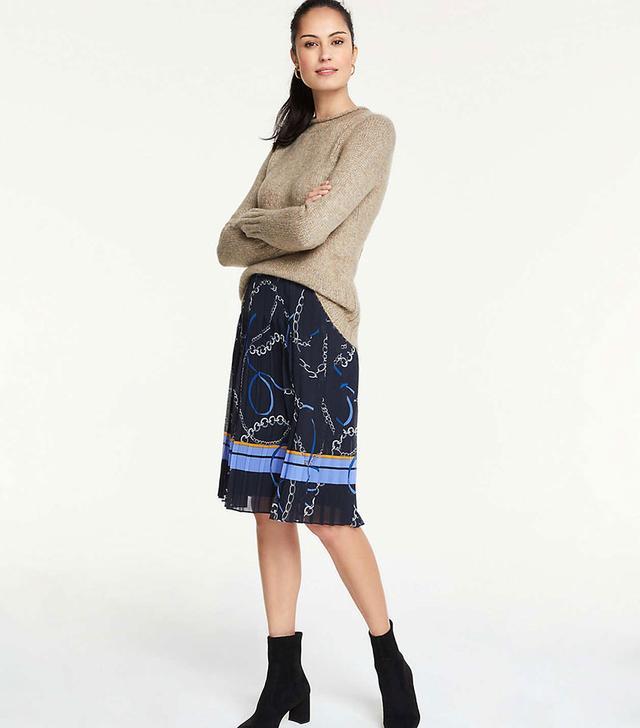 Ann Taylor Ribbon Chain Pleated Skirt