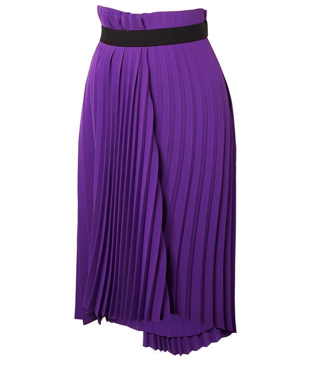 Balenciaga Asymmetric Pleated Crepe Midi Skirt