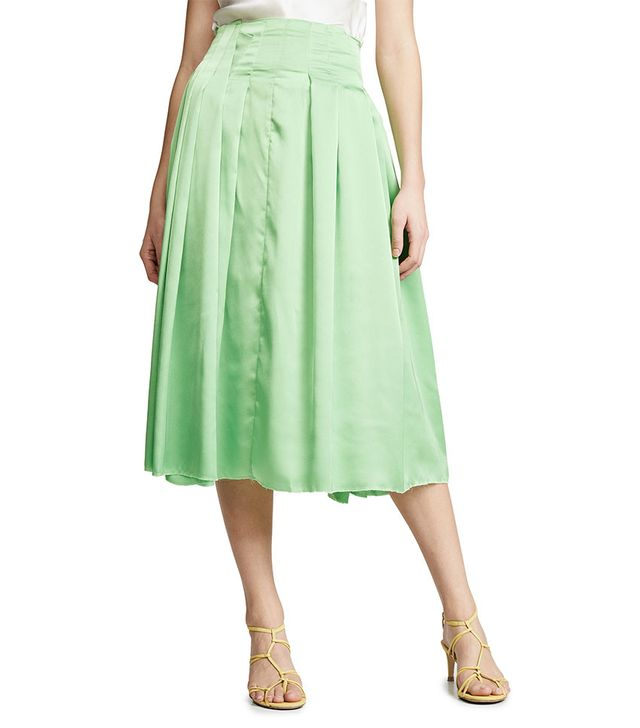 Jourden Satin Pleated Skirt