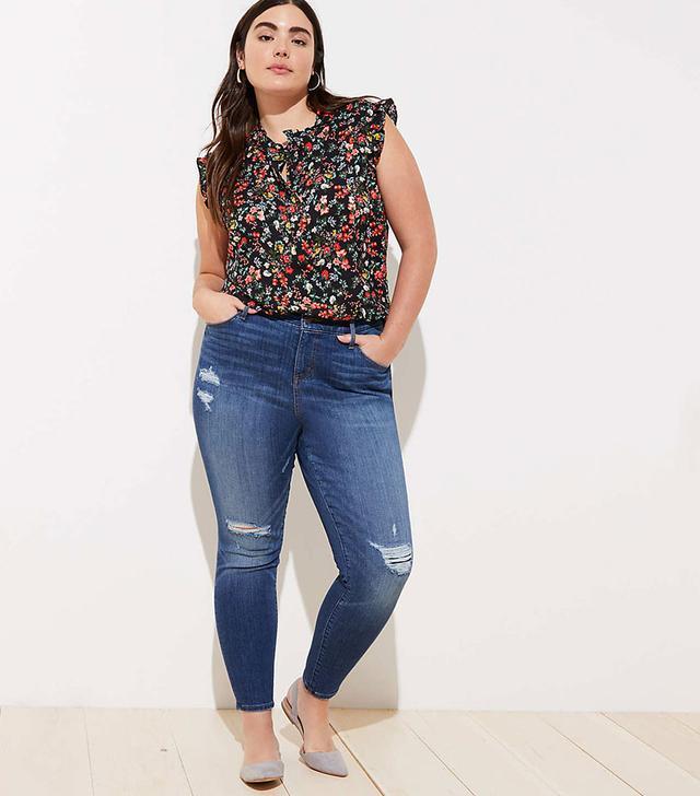 Loft Plus Modern Distressed High-Rise Skinny Jeans