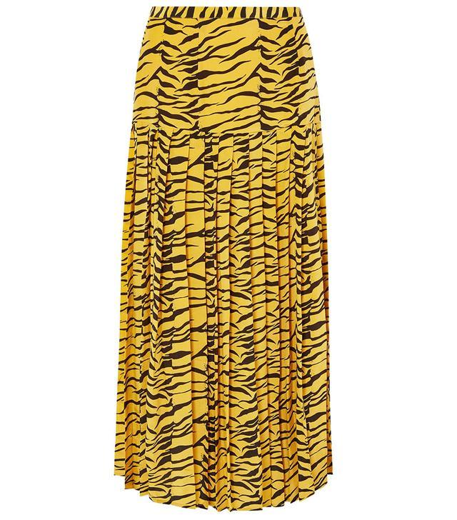 Rixo Tina Pleated Tiger-Print Skirt