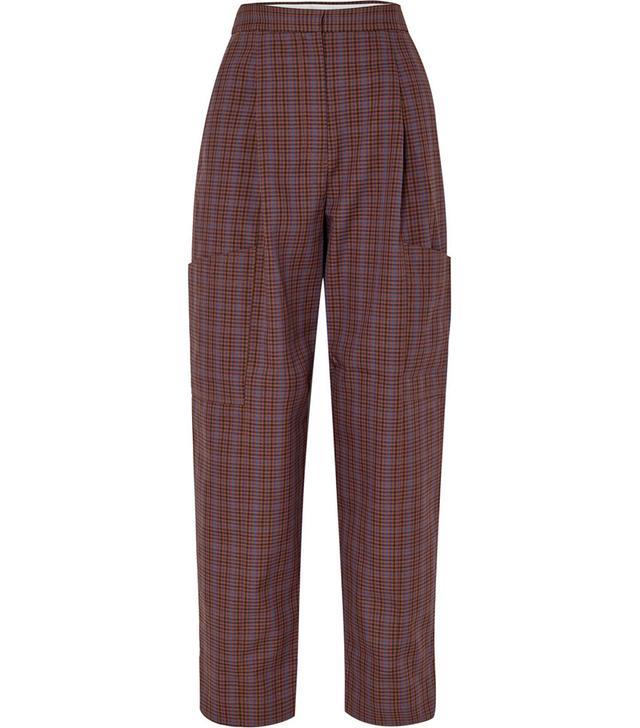 Tibi Checked Woven Cargo Pants