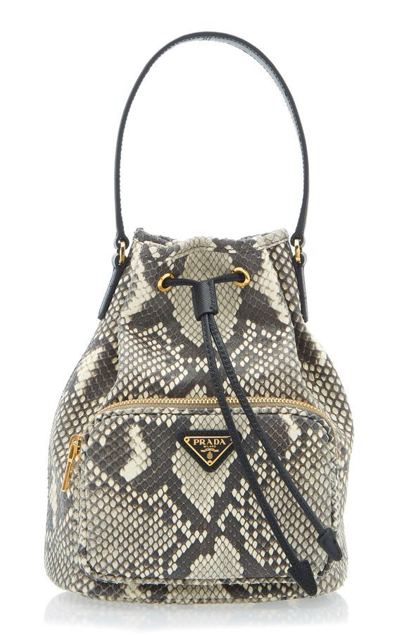 Prada Python Print Leather Bucket Bag
