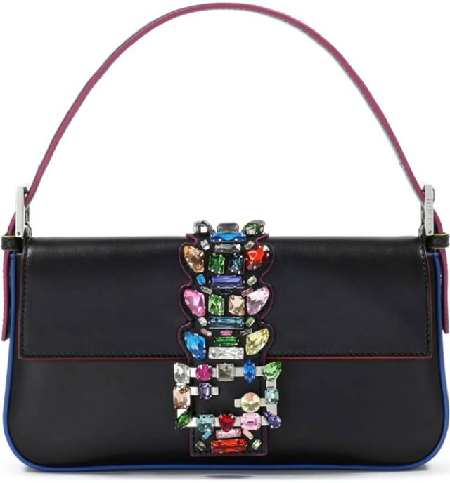 Fendi Crystal Embellished Leather Baguette
