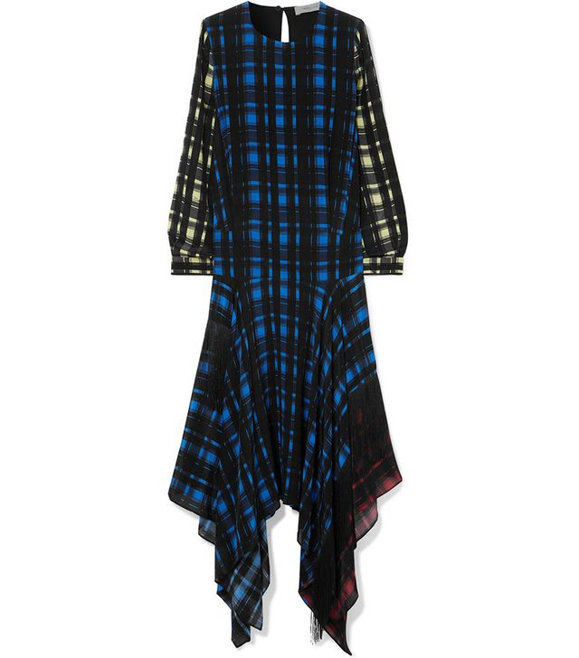 Preen Line Coco Asymmetric Fringed Checked Crepe Dress