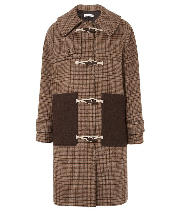 Rejina Pyo Lila Hooded Checked Wool-Blend Duffle Coat