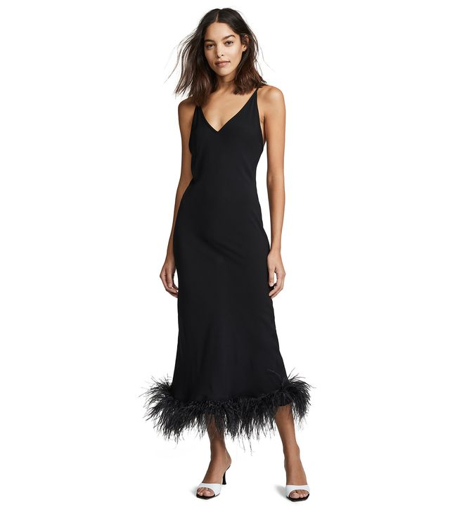 Sleeper Black Viscose Slip Dress