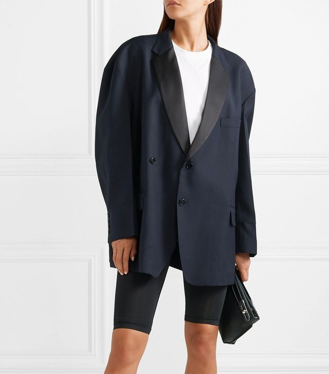 We11done Oversized Satin-Trimmed Twill Blazer