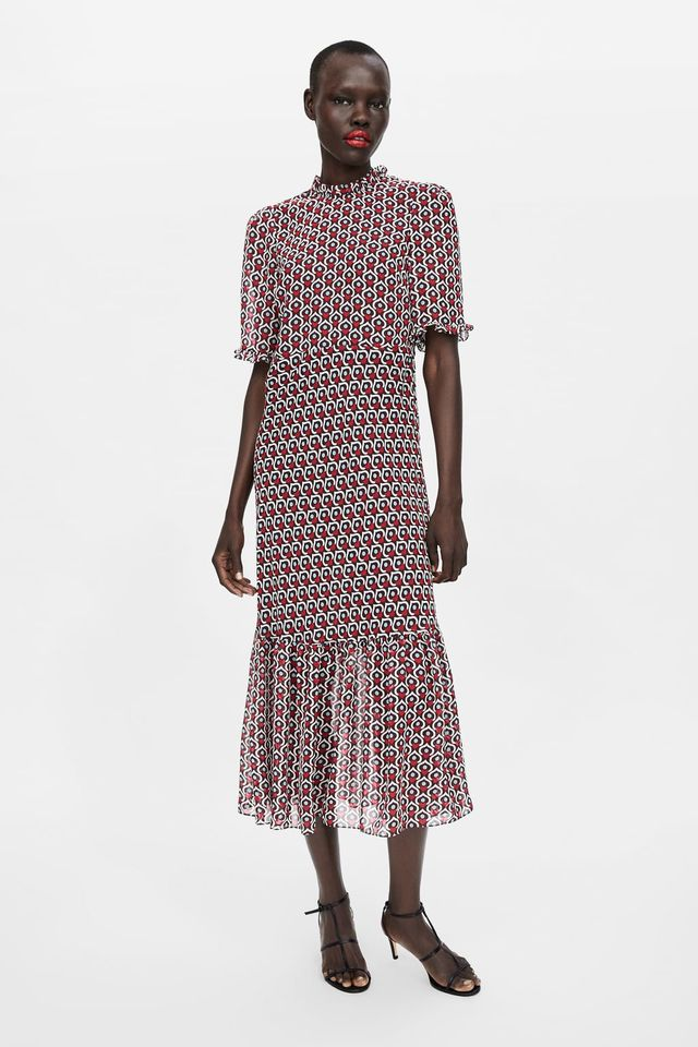 Zara Heart-Print Midi Dress