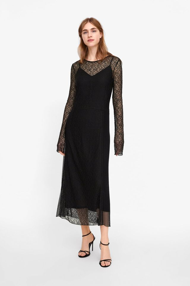 Zara Contrasting Lace Dress