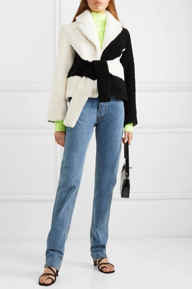 Saks Potts Tie-Front Two-Tone Shearling Jacket