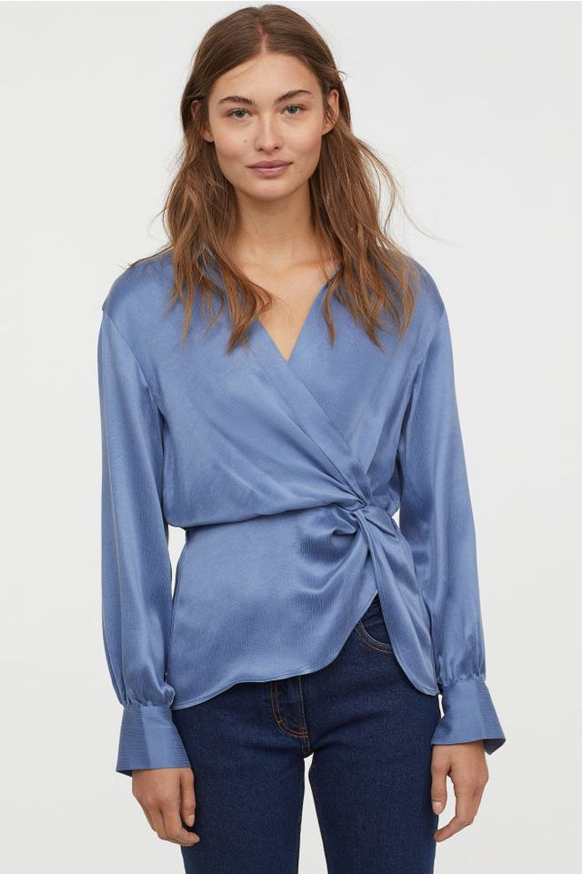 H&M Wrapover Blouse With Collar