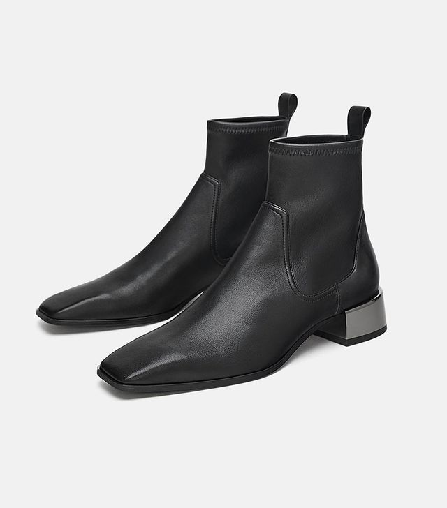 Zara Low-Heeled Square Toe Leather Ankle Boots