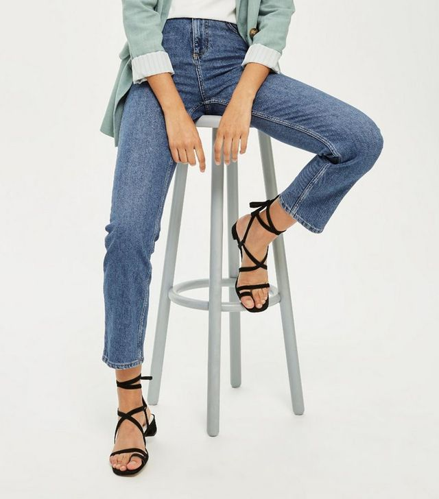 Topshop Mid Blue Straight Leg Jeans