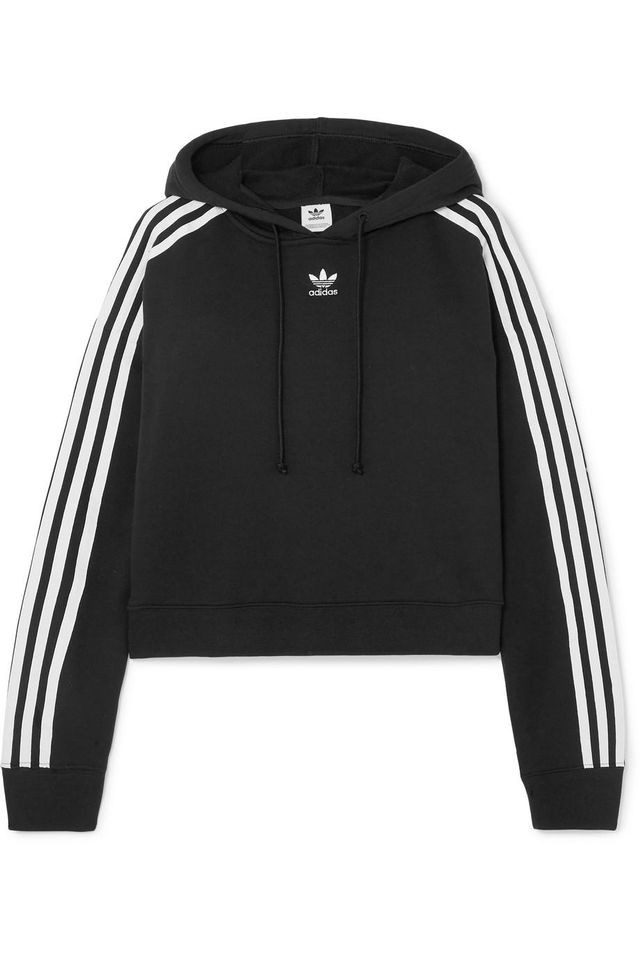 Adidas Originals Cropped Striped Cotton-Jersey Hoodie