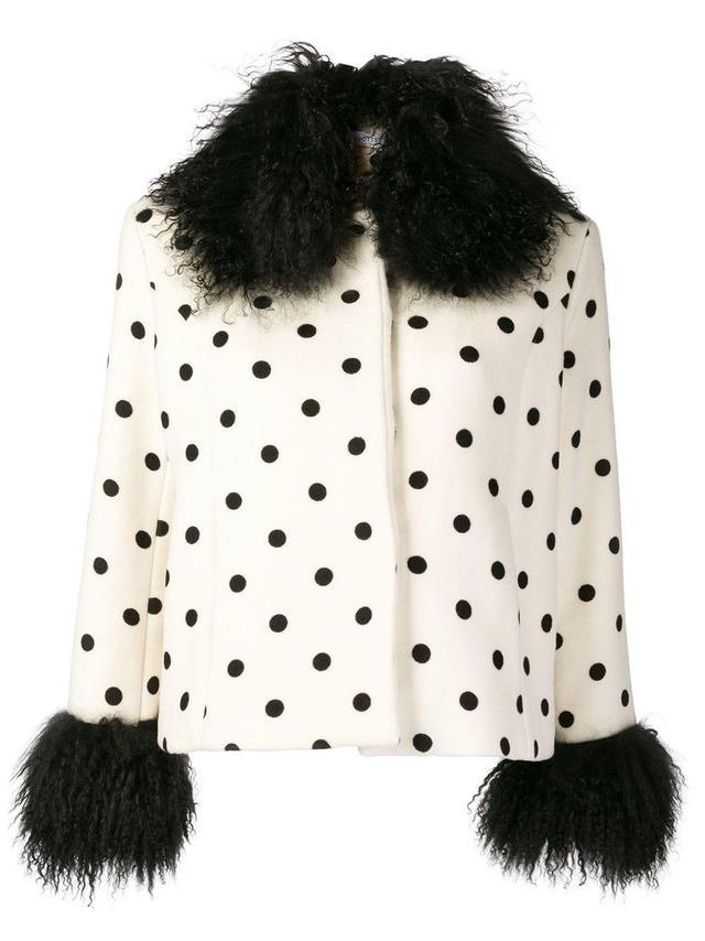 Saks Potts Polka Dot Fur-Trimmed Jacket