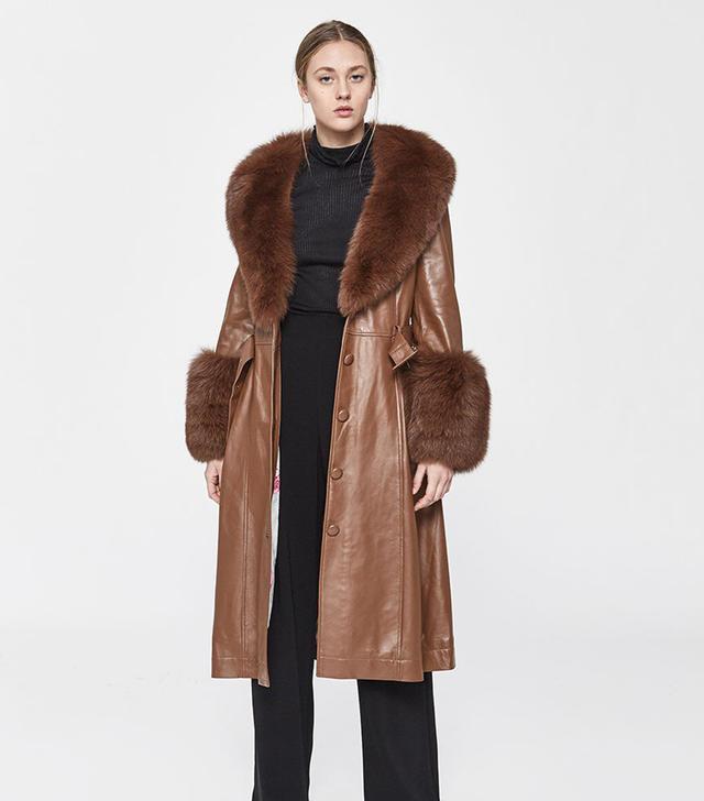 Saks Potts Foxy Leather Coat in Walnut