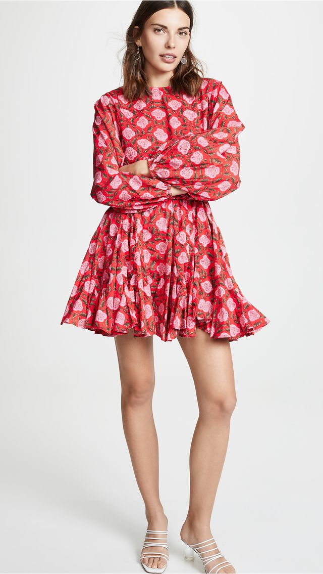 Rhode Resort Ella Dress in Pink/Red Floral