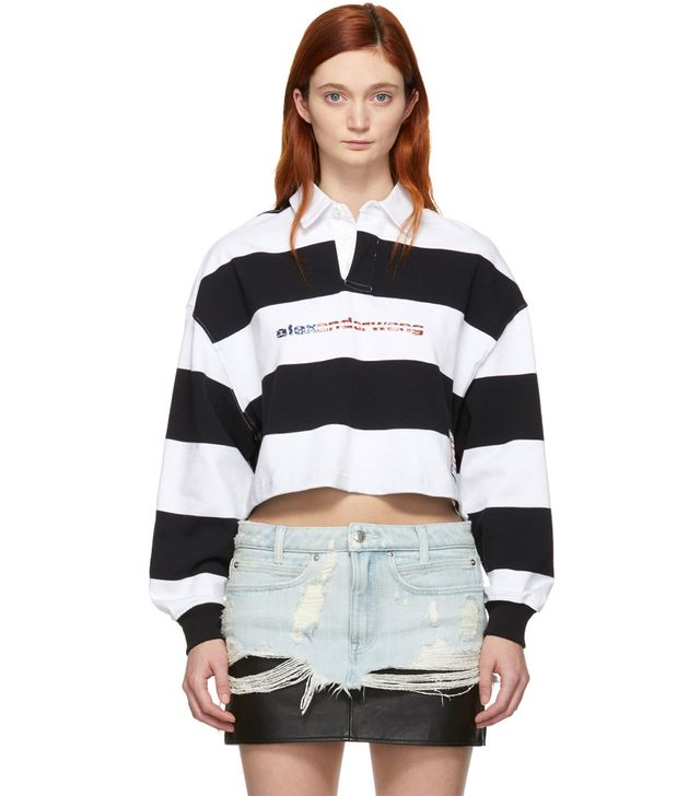 Alexander Wang Black & White Stripe Cropped Rugby Polo