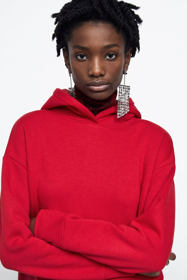 Zara Cropped Hooded Sweatshirt