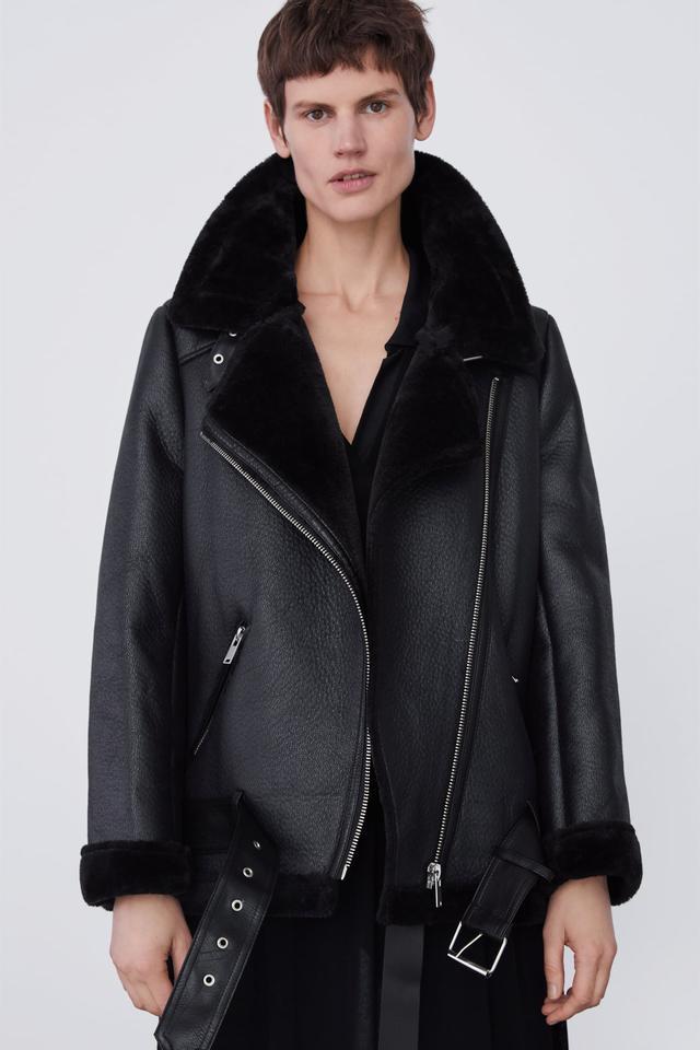 Zara Contrasting Biker Jacket