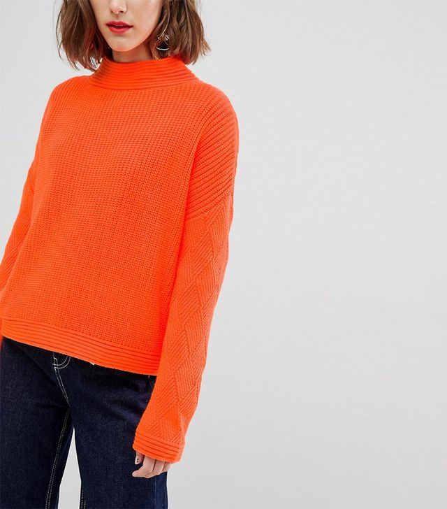 ASOS Neon Sweater With Stitch Sleeve Detail