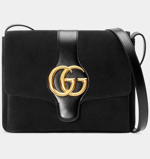 Gucci Arli Medium Shoulder Bag in Black Suede