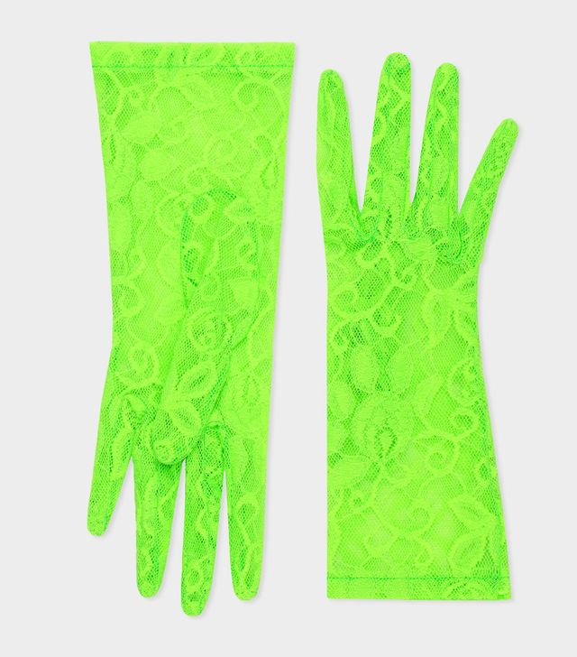 Gucci Tulle Gloves with Floral Motif in Bright Green