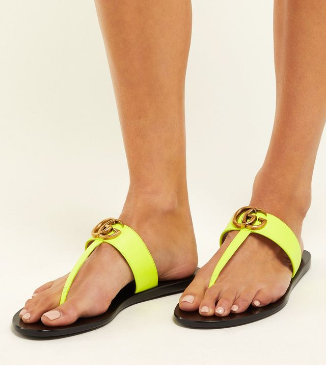 Gucci GG Marmont Flat Leather Sandals in Neon Yellow