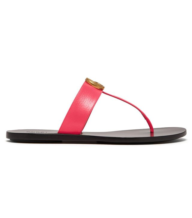Gucci GG Marmont Flat Leather Sandals in Neon Pink