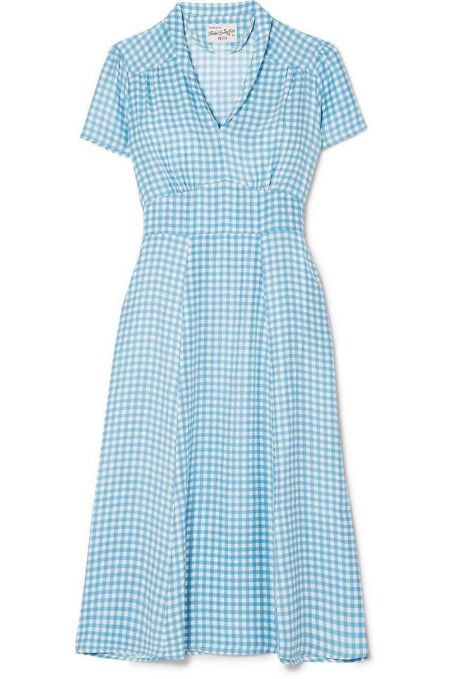 HVN Morgan Gingham Silk Crepe de Chine Midi Dress