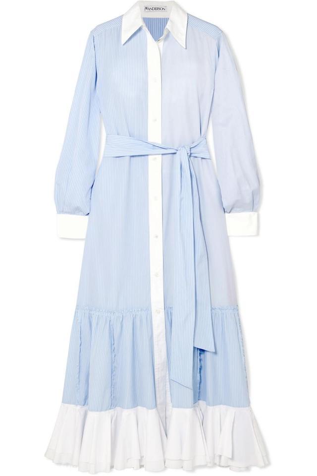 J.W.Anderson Tiered Striped Cotton-Poplin Midi Dress