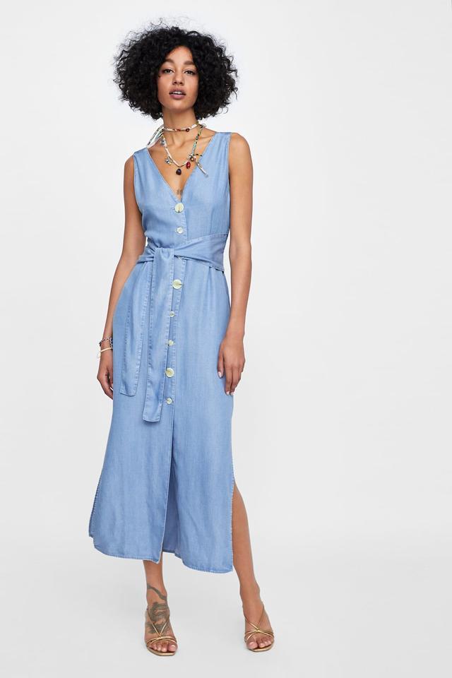 Zara Buttoned Dress With Belt