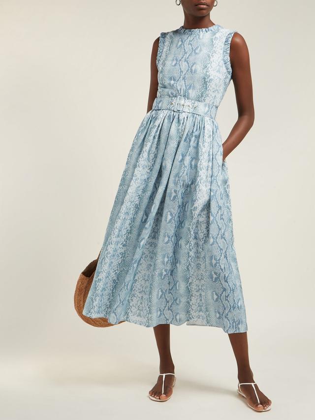 Emilia Wickstead Snakeskin-Print Linen Dress