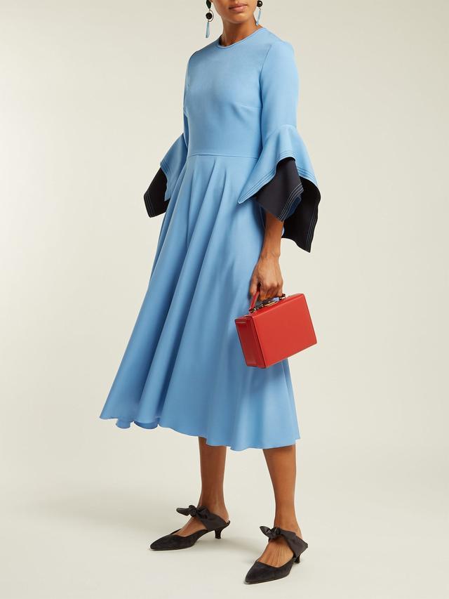 Roksanda Flared Sleeve Cady Midi Dress