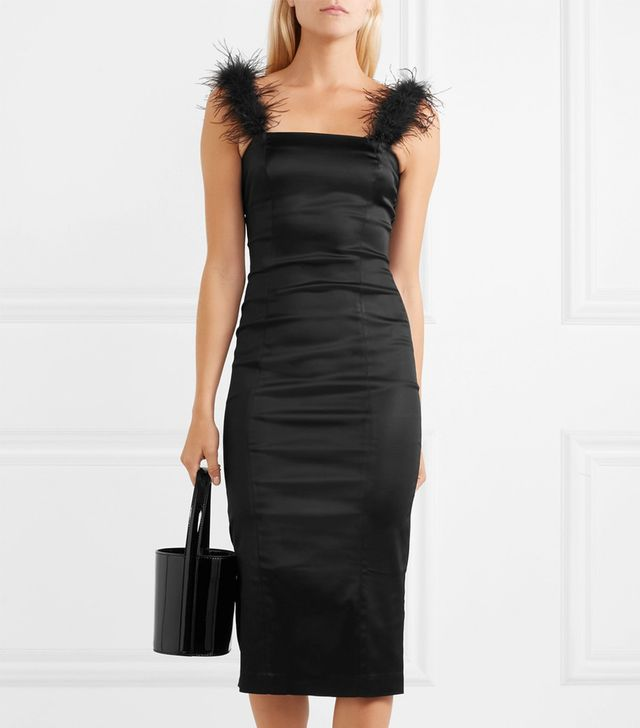 Staud Romy Feather-Trimmed Stretch-Satin Dress