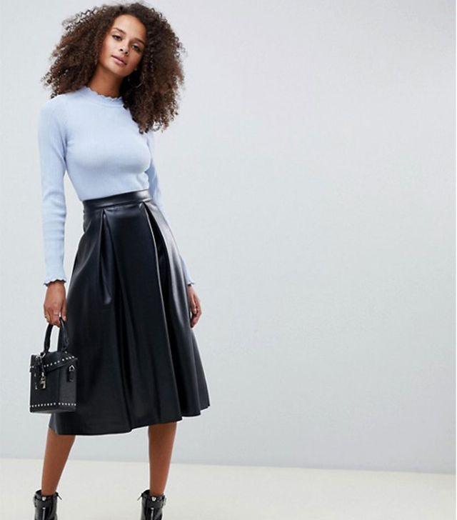 ASOS Design Leather Look Midi Skirt