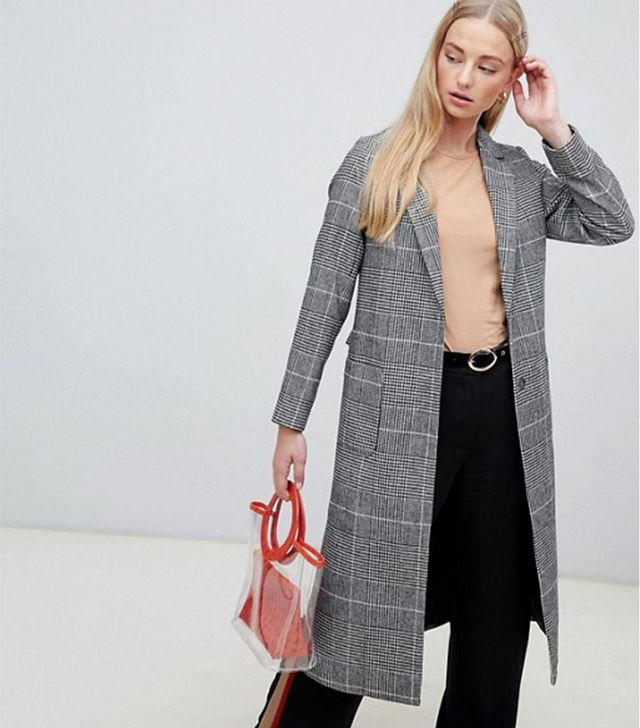 New Look Check Bar Back Maxi Coat