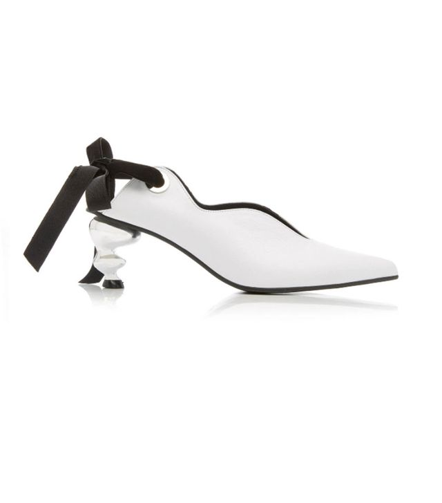 Yuul Yie Velvet-Trimmed Bow-Detailed Leather Pumps