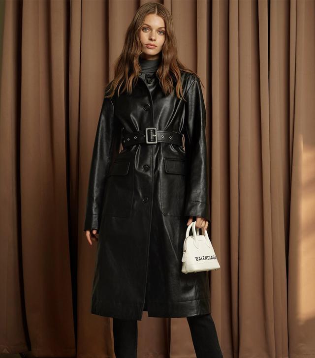 Pixie Market Black Vegan Leather Trench Coat