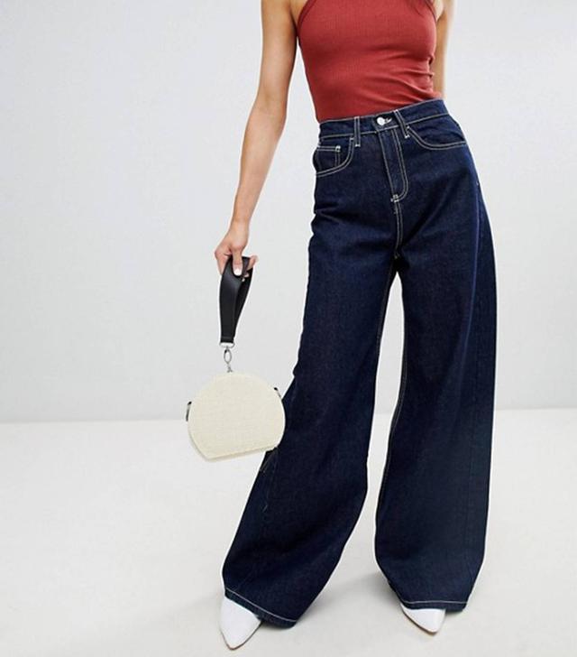 Stradivarius Wide Leg Jeans With Contrast Stitch