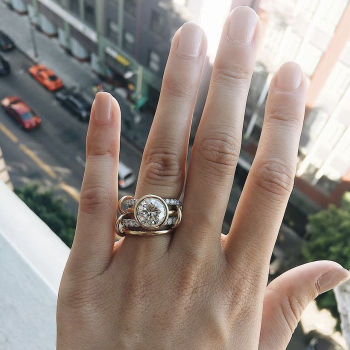 Engagement Ring And Wedding Band.24 Unique Wedding Bands That Will Turn Heads Who What Wear