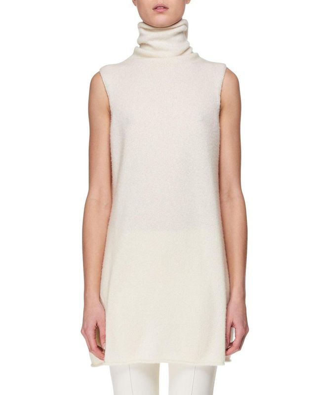 The Row Leond Sleeveless Cashmere-Silk Turtleneck Top