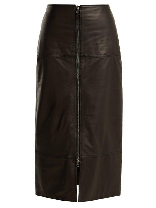 Raey Zip Front Leather Pencil Skirt