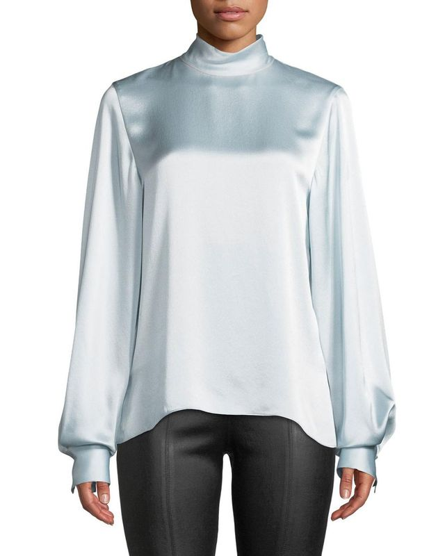 Vince Silk Turtleneck Blouson-Sleeve Top