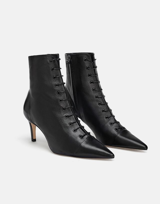 Zara Laced Leather Heeled Ankle Boots