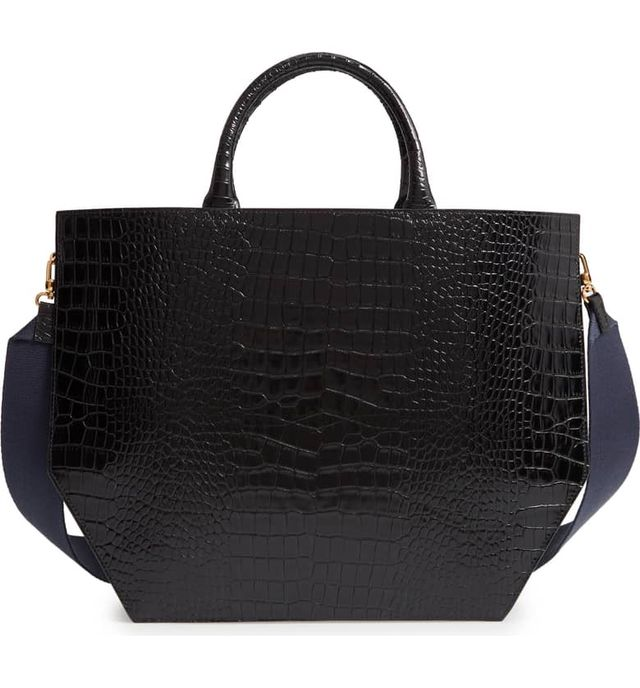 Trademark Collapsing Croc Embossed Calfskin Leather Tote