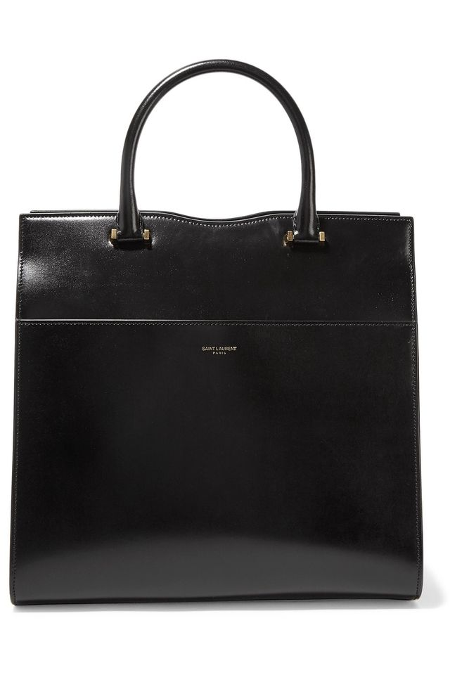 Saint Laurent Cabas Uptown Glossed Leather Tote