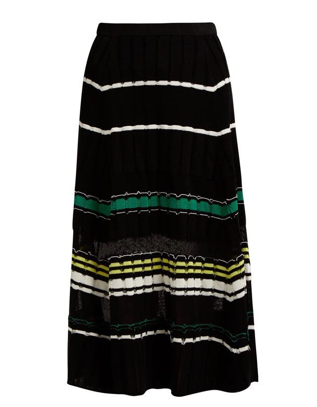 Proenza Schouler Fil Coupé Striped-Cotton-Blend Midi Skirt